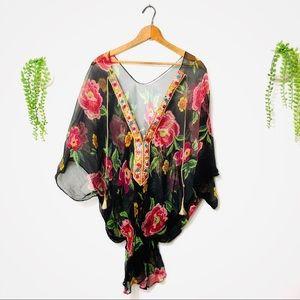 Tops - Gypsy Sheer Silk Boho Blouson Blouse